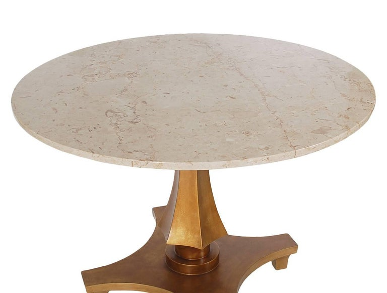 American Hollywood Regency Gold Gilded Marble Dining or Center Table by Baker Furniture For Sale