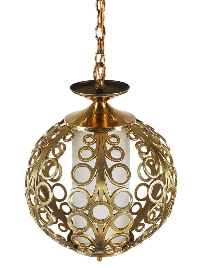 American Hollywood Regency Brass Ring Pendant Hanging Lamp For Sale
