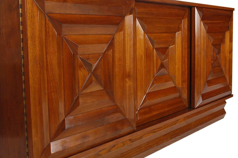 American Mid-Century Modern Art Deco Walnut Credenza Cabinet or Dresser after Nakashima For Sale