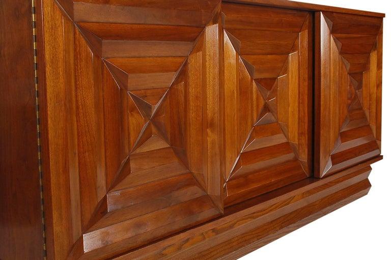 Mid-Century Modern Art Deco Walnut Credenza Cabinet or Dresser after Nakashima 3