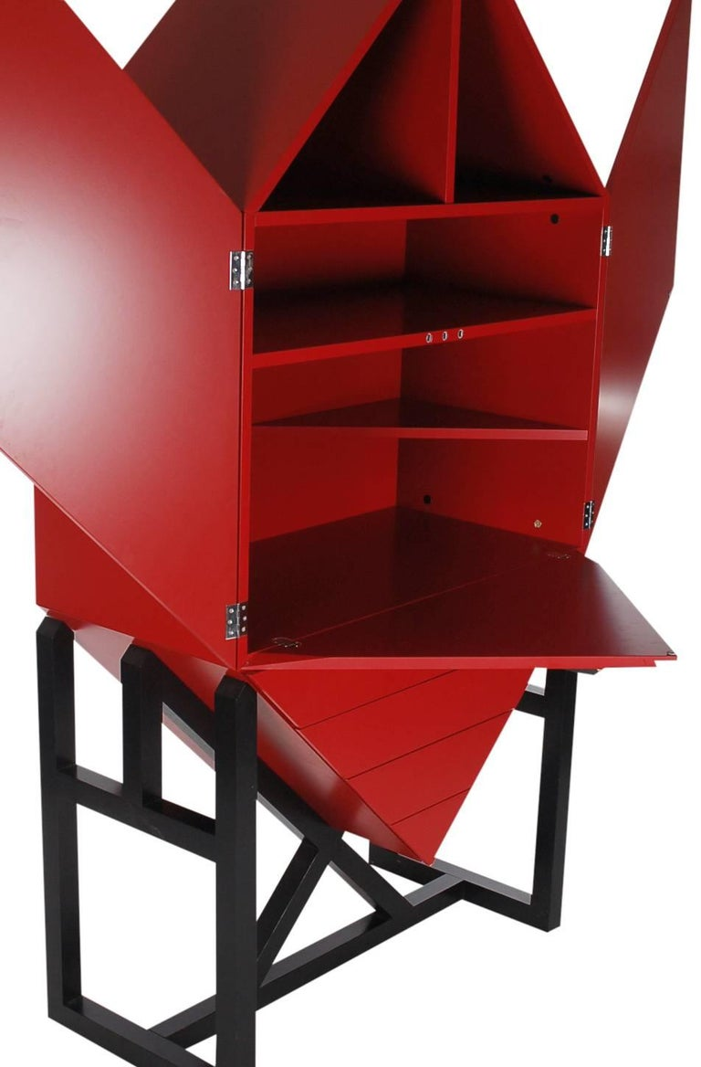 Mid-Century Post Modern Red Secretary Desk or Tall Cabinet after Ettore Sottsass 5