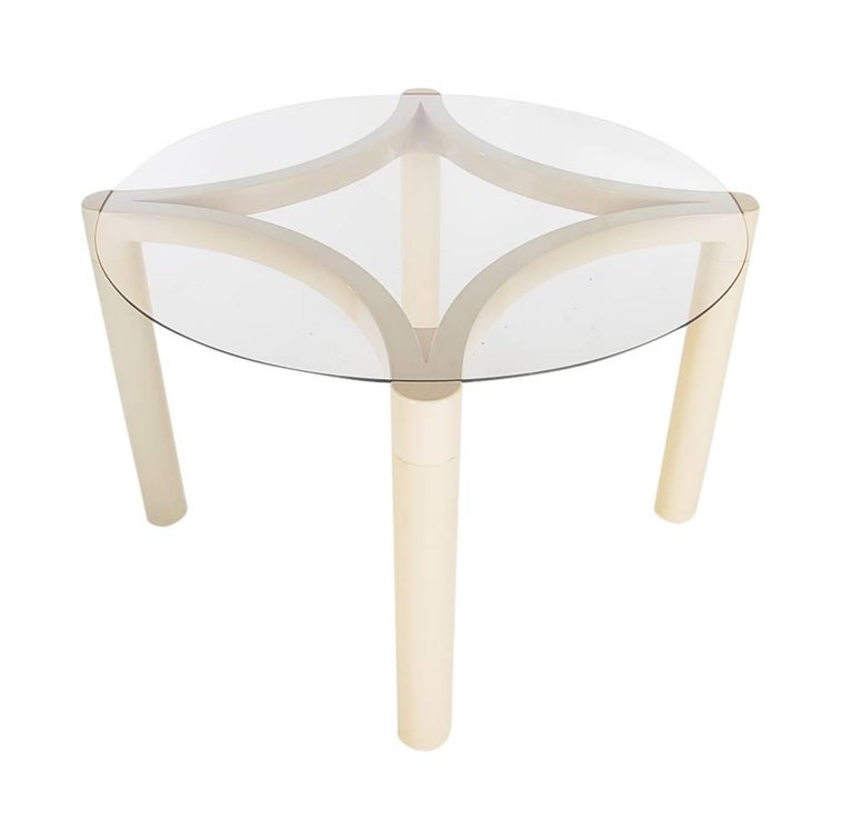 Glass Mid-Century Modern Verner Panton Cream Dining Set or Card Table by Herman Miller For Sale