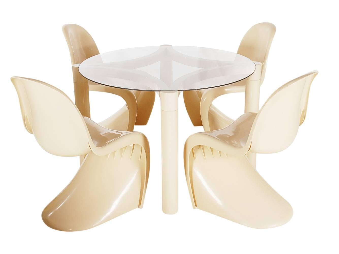 Mid Century Modern Verner Panton Cream Dining Set Or Card Table By Herman  Miller For