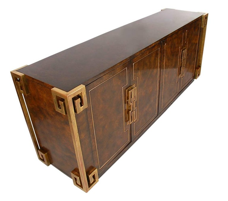 Mastercraft Hollywood Regency Chinoiserie Brass & Burled Elm Credenza or Dresser 5