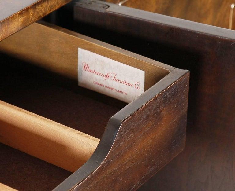 Mastercraft Hollywood Regency Chinoiserie Brass & Burled Elm Credenza or Dresser For Sale 1