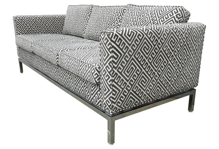 Knoll Style Mid-Century Modern Chrome Sofa in Grey Greek Key Cut Velvet In Excellent Condition For Sale In Philadelphia, PA