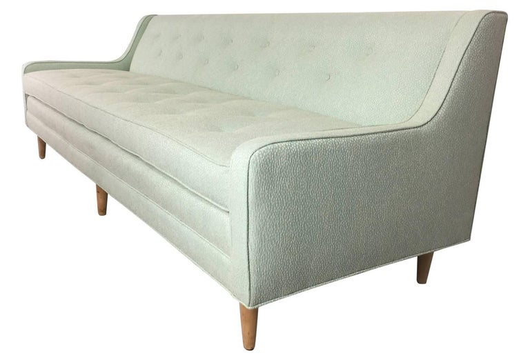 Restored Light Mint Green Mid-Century Modern Sofa 4