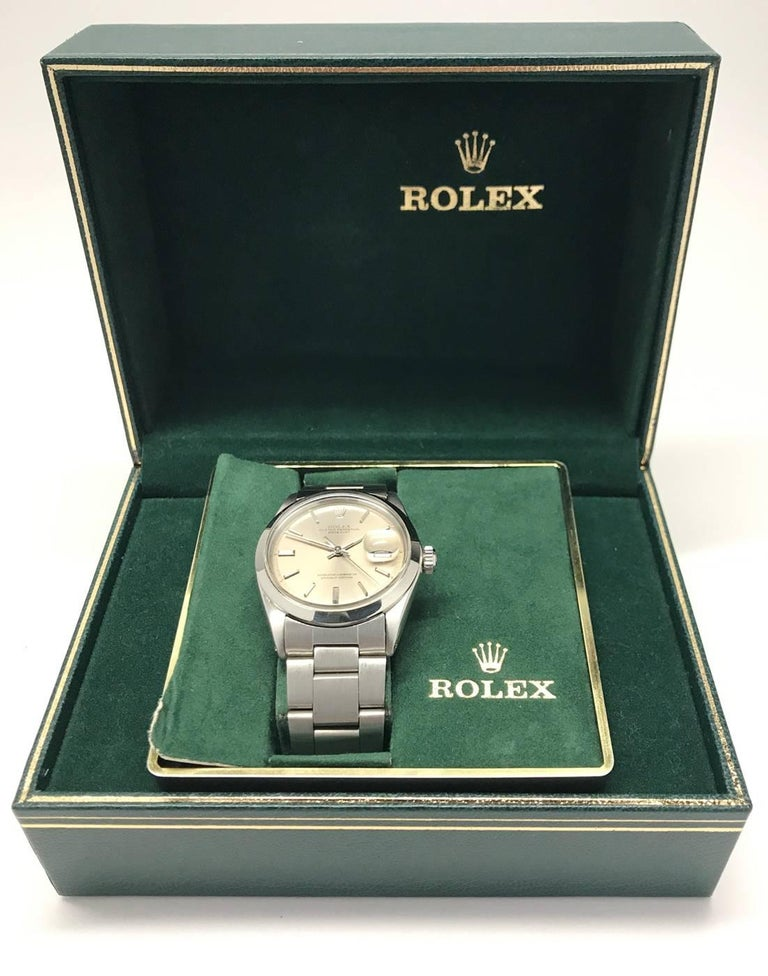 Vintage Men's Rolex Datejust Oyster Wristwatch Stainless Steel and Gray Dial 6
