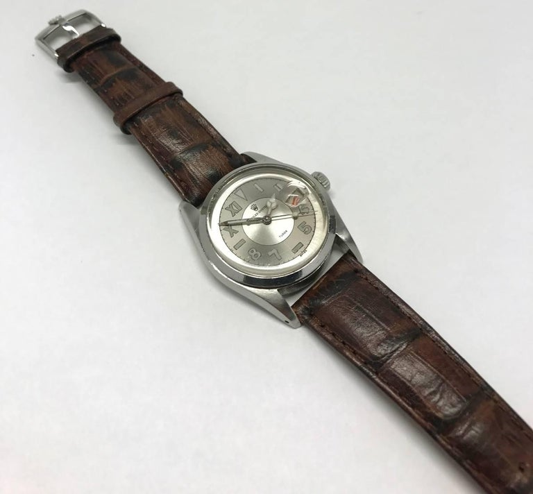 Early Mens Rolex Tudor Oyster Wristwatch with Gray California Dial and Date 6