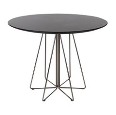 Mid-Century Modern Knoll Paperclip Round Black Dining Table by Massimo Vignelli