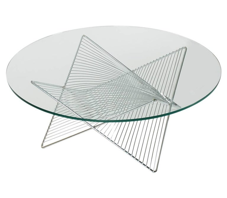 Modern Round Glass And Chrome Coffee Table: Mid-Century Modern Sculptural Geometric Chrome And Glass
