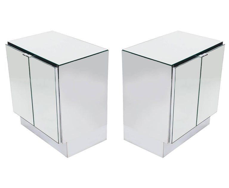 American Hollywood Regency Mirrored Cabinets, End Tables or Nightstands by Ello For Sale