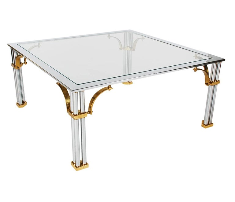 Hollywood Regency Brass Chrome And Glass Square Cocktail