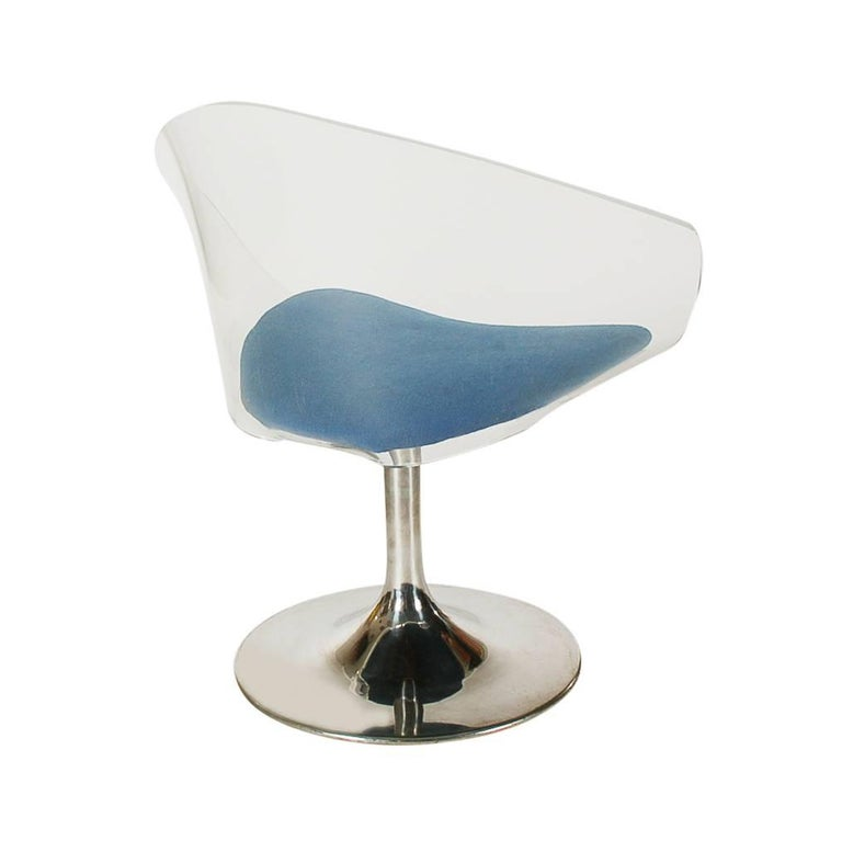 Steel Mid-Century Modern Lucite Tulip Base Diamond Lounge Chair after Estelle Laverne For Sale