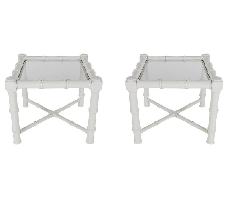 Late 20th Century Hollywood Regency Chunky White Faux Bamboo Chinoiserie End Tables, Midcentury For Sale