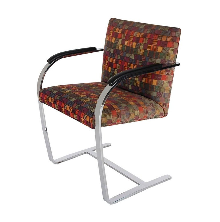 American Set of Eight Mid-Century Modern Flat Bar Brno Armchair Dining Chairs for Knoll For Sale