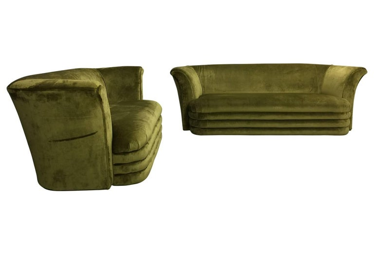Mid Century Modern Art Deco Inspired Chartreuse Velvet Sofa And