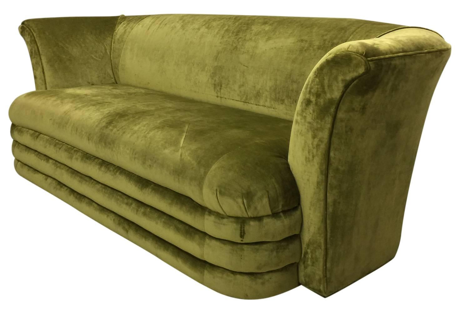 Mid Century Modern Art Deco Inspired Chartreuse Velvet Sofa And Loveseat In  Good Condition For