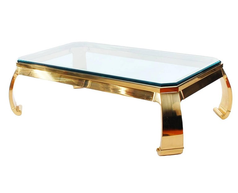 Hollywood Regency Italian Brass and Glass Cocktail Table by Mastercraft In Excellent Condition For Sale In Philadelphia, PA