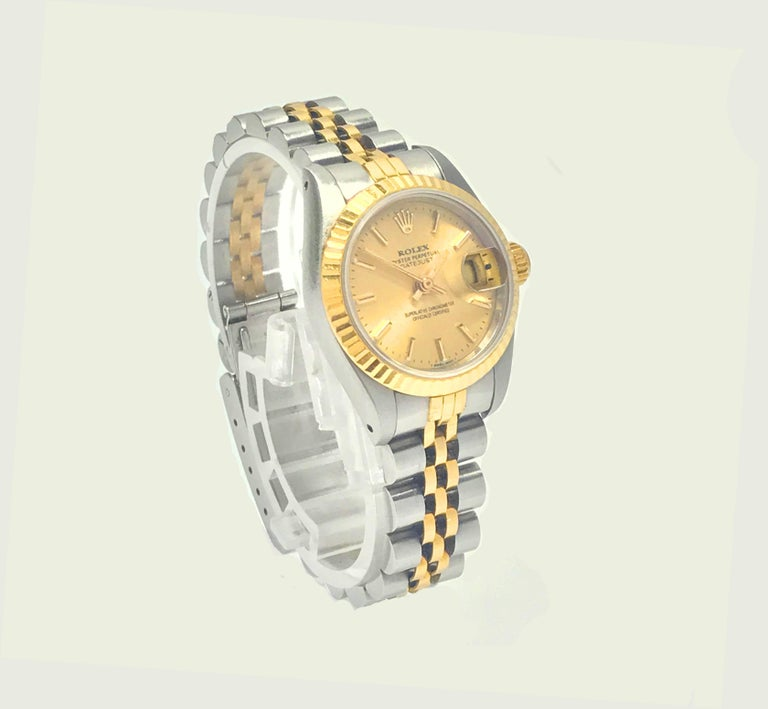 Modern Rolex Stainless Steel and Yellow Gold Two-Tone Ladies Datejust Wristwatch For Sale