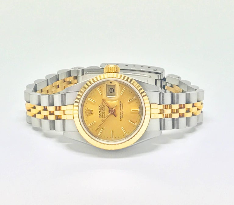 Swiss Rolex Stainless Steel and Yellow Gold Two-Tone Ladies Datejust Wristwatch For Sale