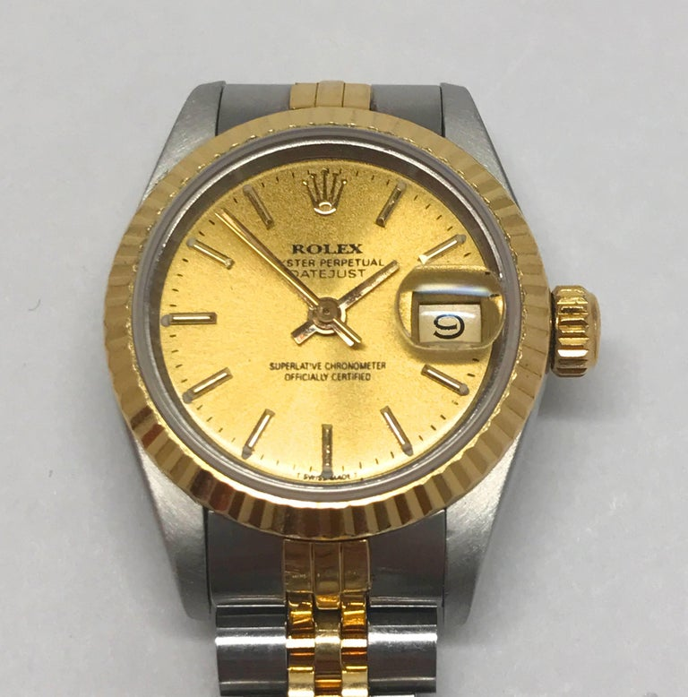 Late 20th Century Rolex Stainless Steel and Yellow Gold Two-Tone Ladies Datejust Wristwatch For Sale