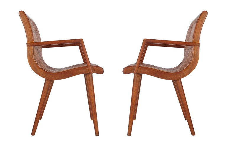 Pair of Mid-Century Modern Cane and Oak Danish Modern Style Armchairs In Excellent Condition For Sale In Philadelphia, PA