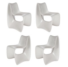 Set of Four Sculptural Mid-Century Modern Willy Guhl Style White Dining Chairs
