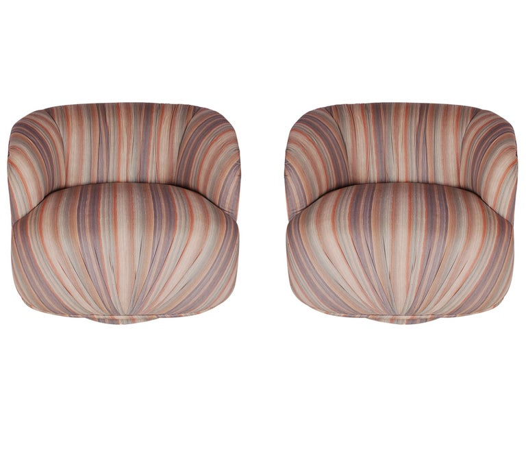 Mid-Century Modern Swivel Poof Lounge Chairs in the Manner of Milo Baughman