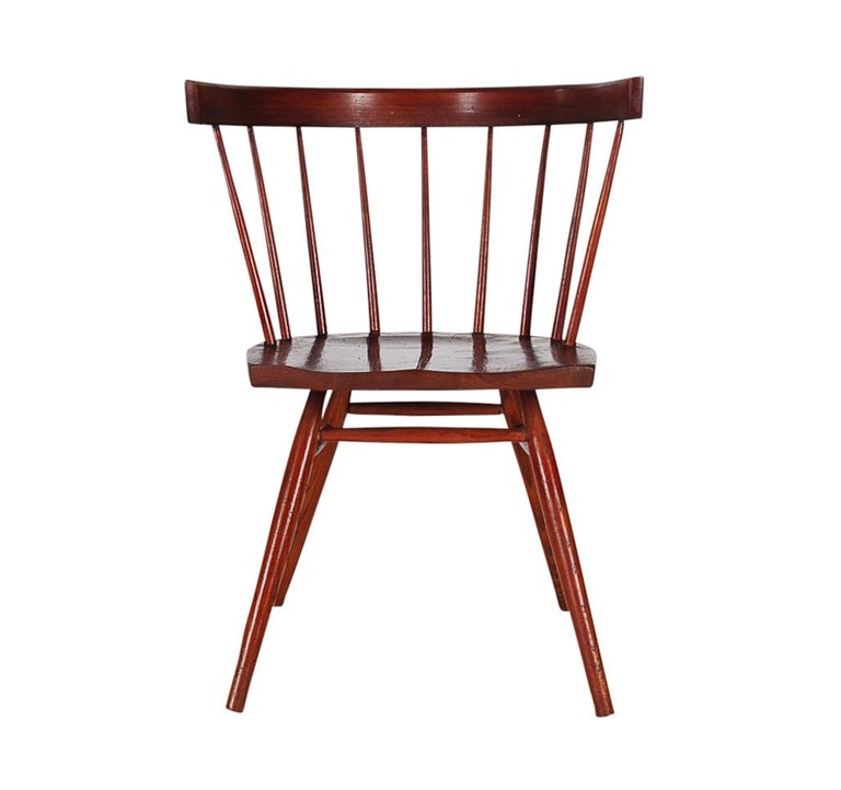 Mid Century Modern Spindle Back George Nakashima Straight Chair For Knoll
