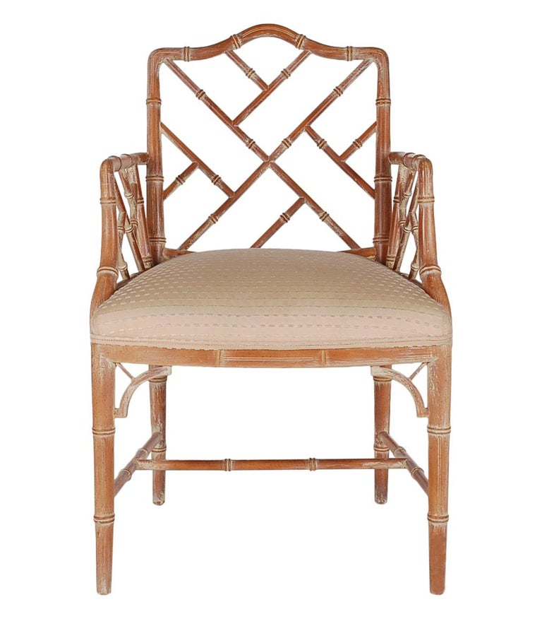 Hollywood Regency Faux Bamboo White Washed Chinese Chippendale Armchair In Excellent Condition For Sale In Philadelphia, PA