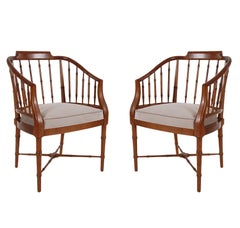 Pair of Chinoiserie Hollywood Regency Faux Bamboo Armchairs in Walnut by Baker