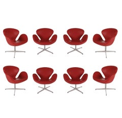 Set of 8 Danish Modern Swivel Lounge Swan Chairs by Arne Jacobsen / Fritz Hansen