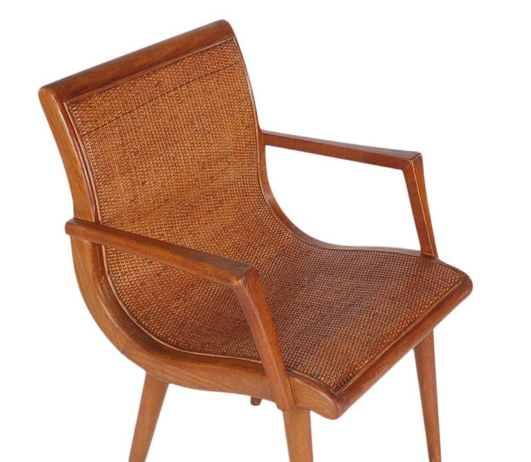 Mid-20th Century Pair of Mid-Century Modern Cane and Oak Danish Modern Style Armchairs For Sale