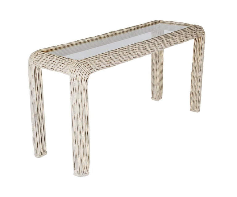 A Simple Woven Rattan Console Table Or Can Be Used As Sofa