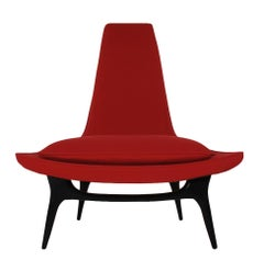 Mid-Century Modern Sculptural Lounge Chair by Karpen of California in Red Wool
