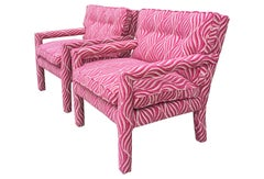 Fuschia Pink and White Animal Print Parsons Chairs