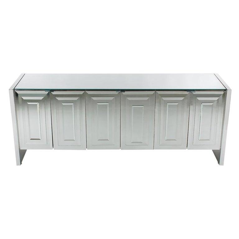 Mid-Century Modern Mirrored Art Deco Credenza or Cabinet by Ello Furniture
