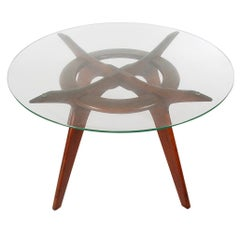 Mid-Century Modern Adrian Pearsall Sculptural Dining Table in Walnut and Glass
