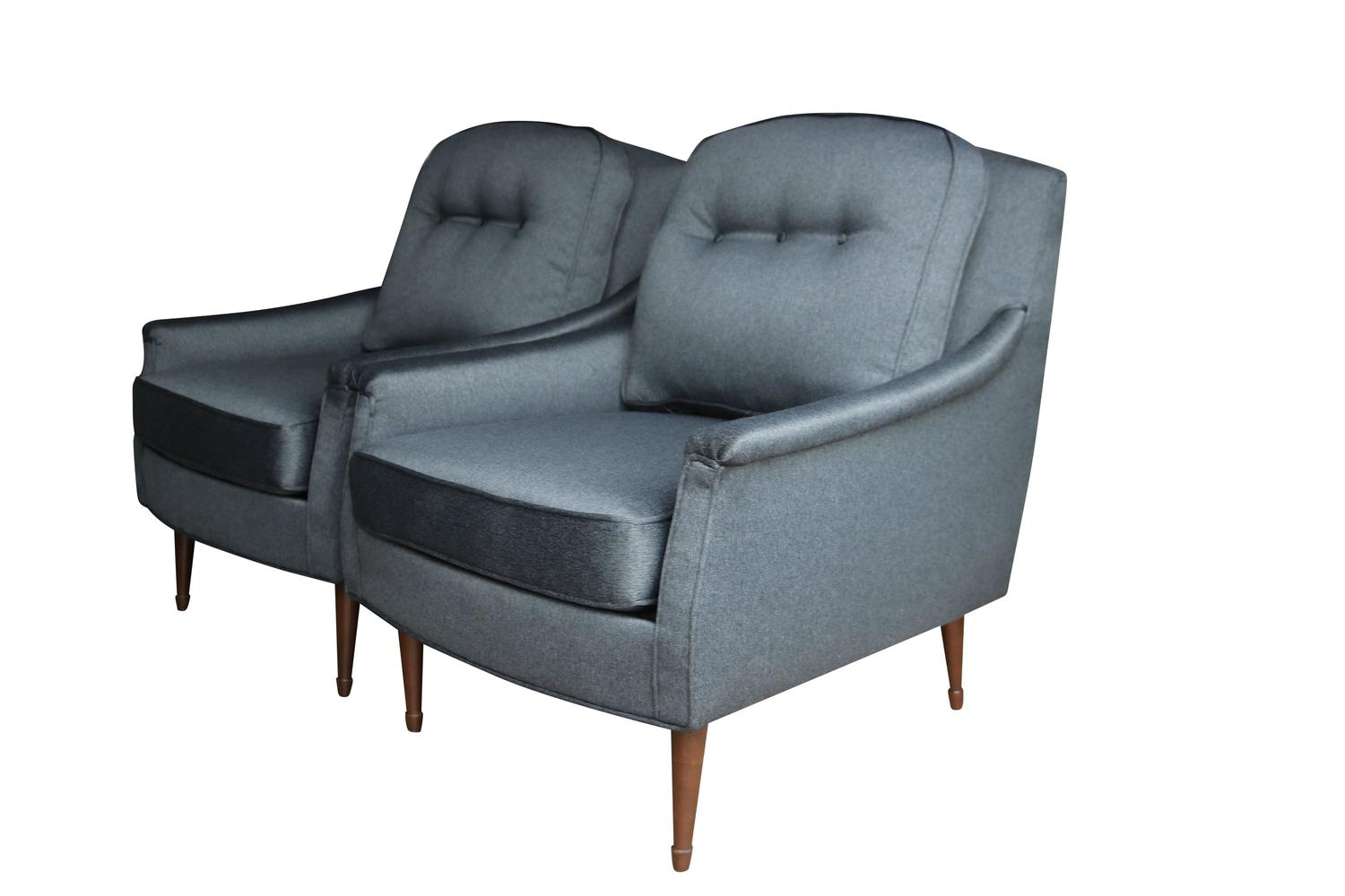 Pair of grey mid century modern armchairs at 1stdibs for Mid century modern armchairs