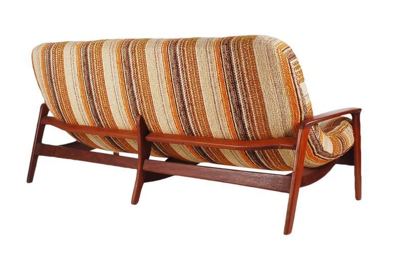 Sculptural Teak Sofa By R Huber Mid Century Danish Modern