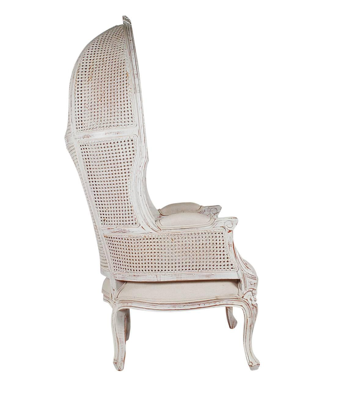french style cane wingback canopy porters chair for sale at 1stdibs. Black Bedroom Furniture Sets. Home Design Ideas