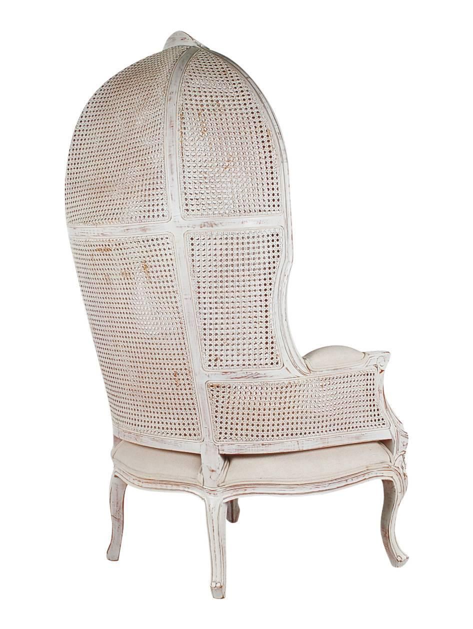 French Style Cane Wingback Canopy Porters Chair For Sale