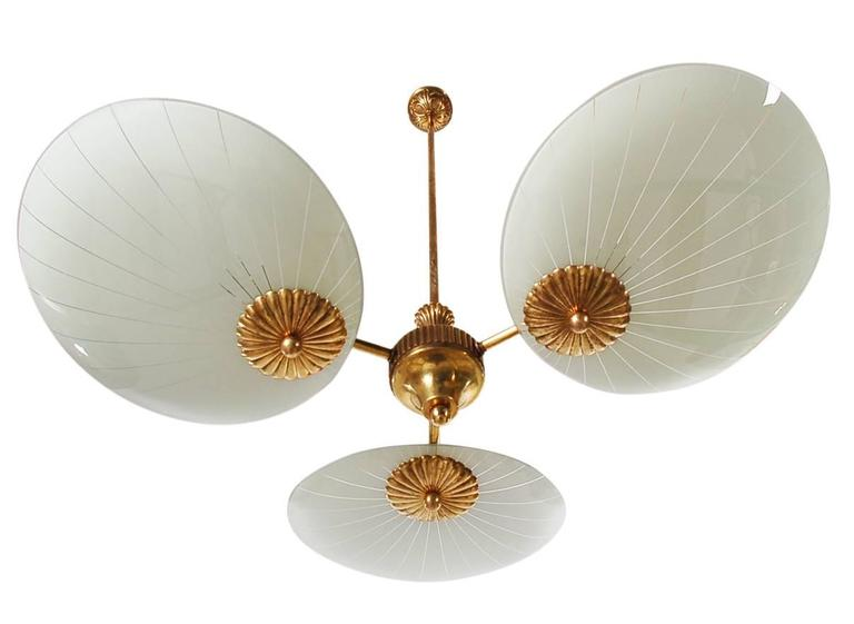Italian Brass Sputnik Chandelier Attributed to Stilnovo or Arteluce 3