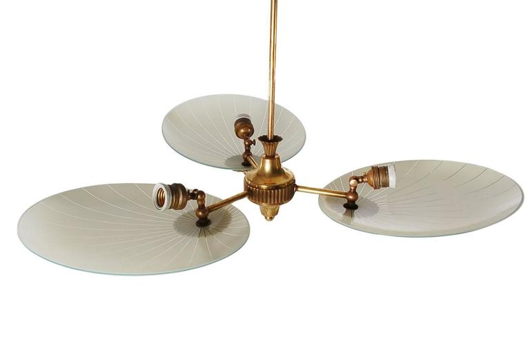 Italian Brass Sputnik Chandelier Attributed to Stilnovo or Arteluce 4