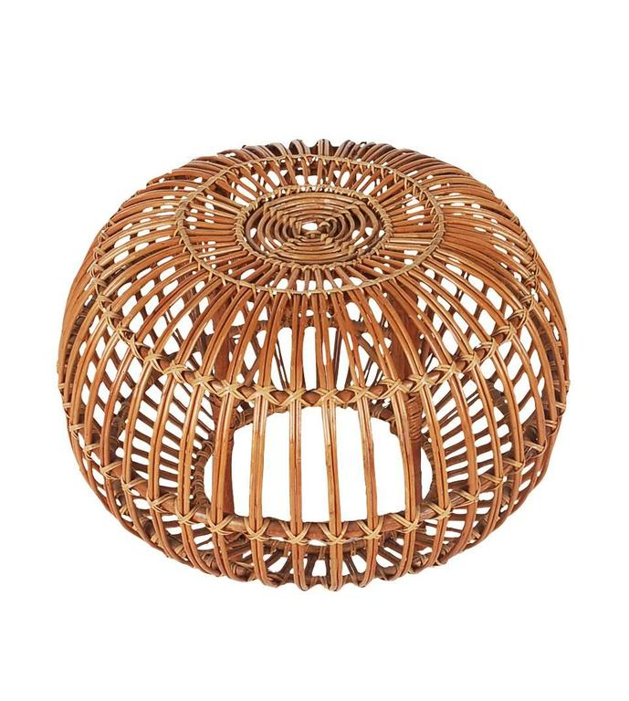 Franco Albini ottoman in rattan, circa 1960s. Very well cared for through the years and ready for immediate use.