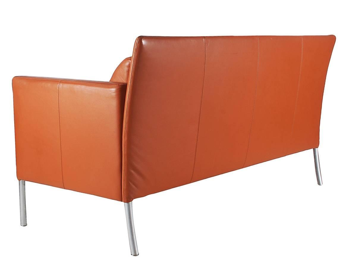 mid century modern leather sofa after b rge mogensen for sale at