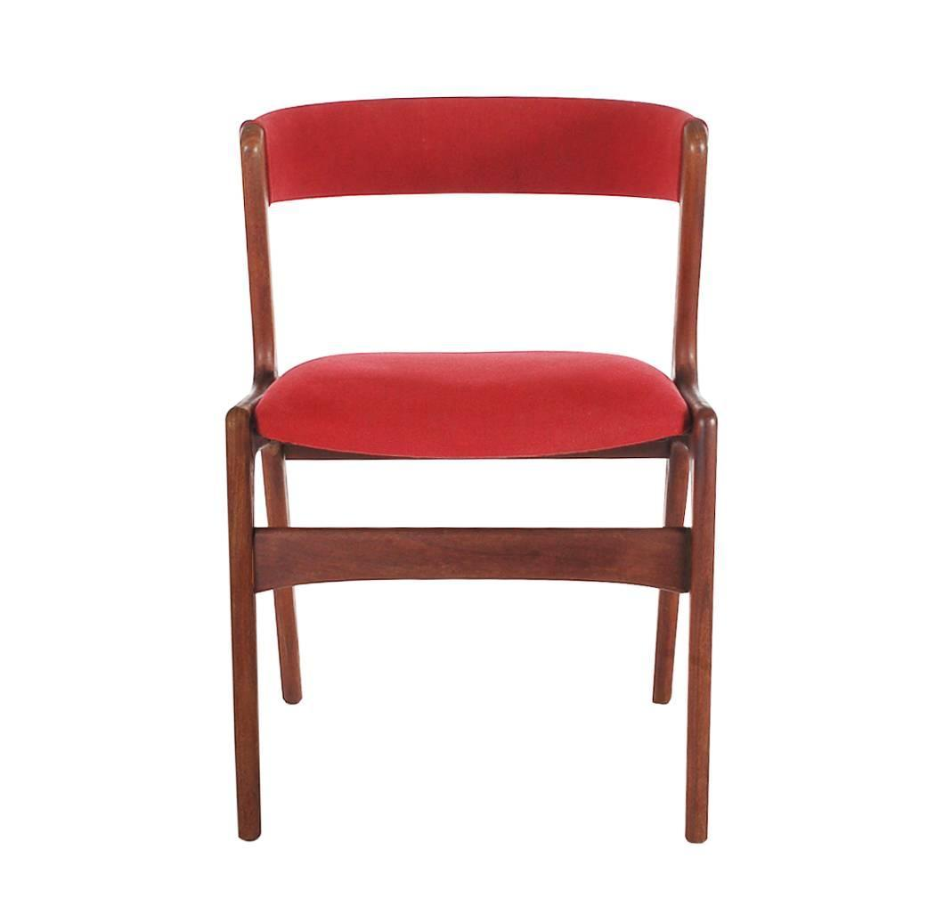 Set Of Four Kai Kristiansen Teak Dining Chairs Mid Century Danish Modern At 1