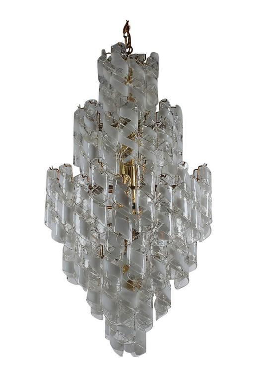 Mid-Century Modern Monumental Mid-Century Italian Modern Mazzega Murano Spiral Glass Chandelier For Sale
