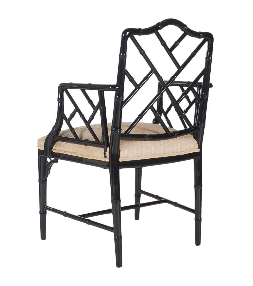 Set of four black lacquered faux bamboo chinese for Chinese style furniture for sale